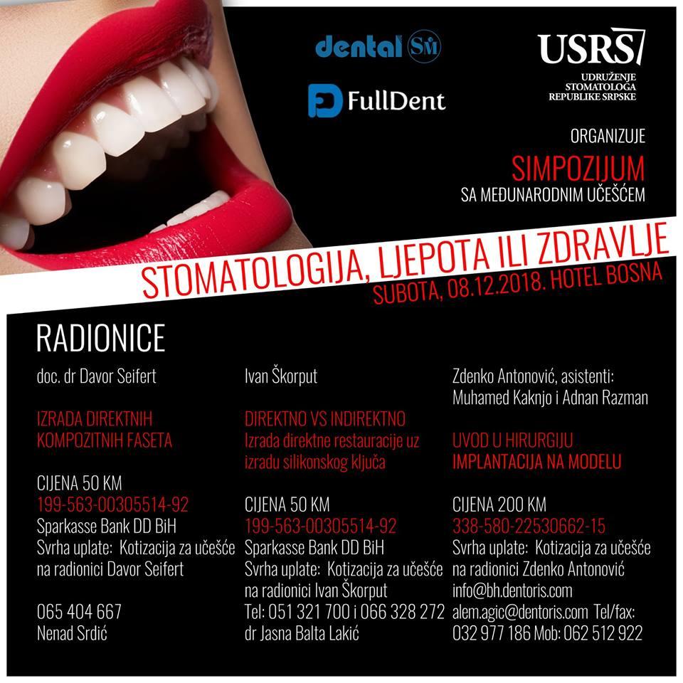 USRS Simpozijum Stomatologija ljepota ili zdravlje radionice